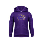 Youth Purple Fleece Hoodie-Catamount Head