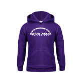 Youth Purple Fleece Hoodie-Arched Football Design