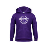 Youth Purple Fleece Hoodie-Basketball Ball Design