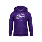 Youth Purple Fleece Hood-Basketball Stacked Design