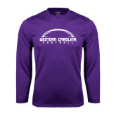 Performance Purple Longsleeve Shirt-Arched Football Design