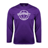 Performance Purple Longsleeve Shirt-Basketball Ball Design