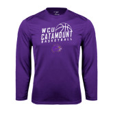 Performance Purple Longsleeve Shirt-Basketball Stacked Design
