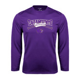 Performance Purple Longsleeve Shirt-Baseball Crossed Bats Design