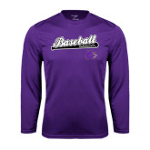 Performance Purple Longsleeve Shirt-Baseball Script w/ Bat Design