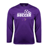 Performance Purple Longsleeve Shirt-Soccer Swoosh Design