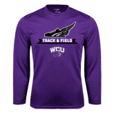 Syntrel Performance Purple Longsleeve Shirt-Track and Field Side Shoe Design