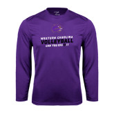 Performance Purple Longsleeve Shirt-Can You Dig It - Volleyball Design