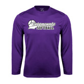 Performance Purple Longsleeve Shirt-Softball Script Design