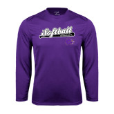 Performance Purple Longsleeve Shirt-Softball Script w/ Bat Design