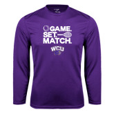 Syntrel Performance Purple Longsleeve Shirt-Game Set Match Tennis Design