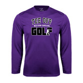 Performance Purple Longsleeve Shirt-Tee Off Golf Design