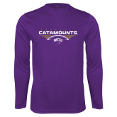 Performance Purple Longsleeve Shirt-Football Abstract Ball
