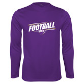 Performance Purple Longsleeve Shirt-Football Fancy Lines