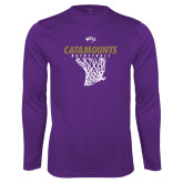 Performance Purple Longsleeve Shirt-Basketball Net Design