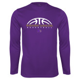 Performance Purple Longsleeve Shirt-Basketball Half Ball