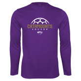 Performance Purple Longsleeve Shirt-Soccer Half Ball Design
