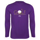 Performance Purple Longsleeve Shirt-Golf Flag Design