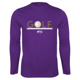 Performance Purple Longsleeve Shirt-Golf Lines Design