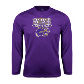 Performance Purple Longsleeve Shirt-Western Carolina Catamounts Stacked