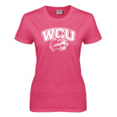 Ladies Fuchsia T Shirt-WCU w/Head