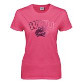 Ladies Fuchsia T Shirt-WCU w/Head Foil