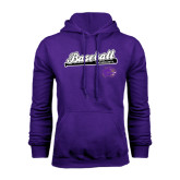 Purple Fleece Hood-Baseball Script w/ Bat Design