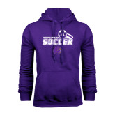 Purple Fleece Hood-Soccer Swoosh Design