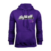 Purple Fleece Hood-Softball Script w/ Bat Design
