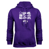 Purple Fleece Hood-Game Set Match Tennis Design