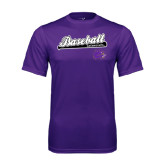 Performance Purple Tee-Baseball Script w/ Bat Design