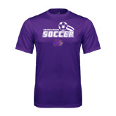 Syntrel Performance Purple Tee-Soccer Swoosh Design