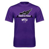 Performance Purple Tee-Track and Field Side Shoe Design