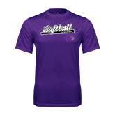 Performance Purple Tee-Softball Script w/ Bat Design