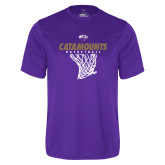 Performance Purple Tee-Basketball Net Design