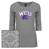 Ladies Grey Heather Tri Blend Lace 3/4 Sleeve Tee-WCU w/Head