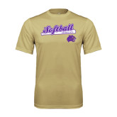 Performance Vegas Gold Tee-Softball Script w/ Bat Design