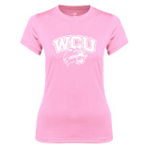 Ladies Performance Light Pink Tee-WCU w/Head