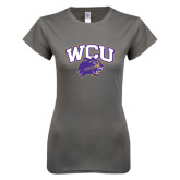 Ladies SoftStyle Junior Fitted Charcoal Tee-WCU w/Head