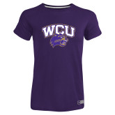 Ladies Russell Purple Essential T Shirt-WCU w/Head