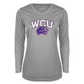 Ladies Syntrel Performance Platinum Longsleeve Shirt-WCU w/Head