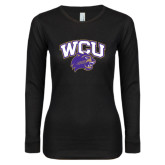 Ladies Black Long Sleeve V Neck T Shirt-WCU w/Head