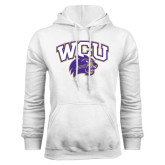 Champion White Fleece Hood-WCU w/Head