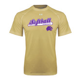 Under Armour Vegas Gold Tech Tee-Softball Script w/ Bat Design