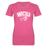 Ladies SoftStyle Junior Fitted Fuchsia Tee-WCU w/Head