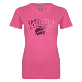 Ladies SoftStyle Junior Fitted Fuchsia Tee-WCU w/Head Foil