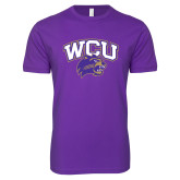 Next Level SoftStyle Purple T Shirt-WCU w/Head