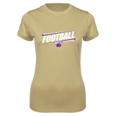 Ladies Syntrel Performance Vegas Gold Tee-Football Fancy Lines