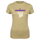 Ladies Syntrel Performance Vegas Gold Tee-Basketball Net Design