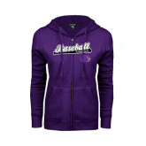 ENZA Ladies Purple Fleece Full Zip Hoodie-Baseball Script w/ Bat Design